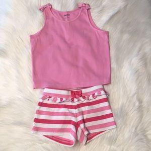 Gymboree Pink tank/pink stripe shorts Size 3T-4